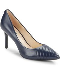 Karl Lagerfeld Roulle Leather Point-toe Court Shoes - Blue