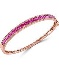 Effy Amore' 14k Rose Gold, Ruby & Diamond Bangle Bracelet - Multicolour