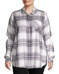 Two By Vince Camuto Plus Plaid Cutout Button-down Shirt - Gray
