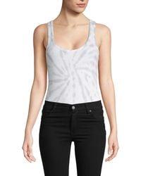 Chaser Tie-dyed Cotton-blend Bodysuit - White