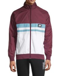 New Balance Men's Colorblock Raglan-sleeve Jacket - Burgundy White - Size S - Red