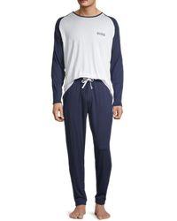 BOSS by HUGO BOSS 2-piece Raglan-sleeve Pajama Set - Blue