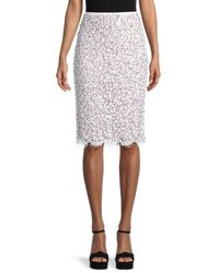 Michael Kors Women's Embellished Lace Pencil Skirt - Optic White - Size 4