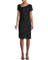Adrianna Papell Hand-beaded Sheath Dress - Black