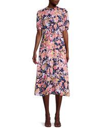 Julia Jordan Floral Puff-sleeve Dress - Pink