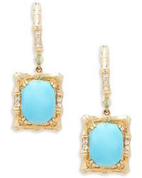 Le Vian | 14k Honey Gold, Robin's Egg Turquoise, And Vanilla Sapphires Earrings | Lyst