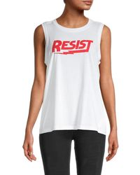Rebecca Minkoff Women's Resist Graphic Muscle Tank - White Red - Size S