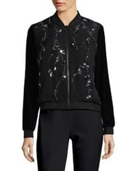 Lyst - Elie Tahari Brandy Silk Satin Bomber Jacket