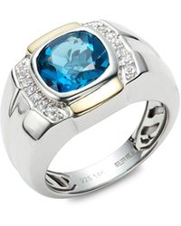 Effy Sterling Silver, 14k Yellow Gold, Light Blue Topaz & White Sapphire Ring - Metallic