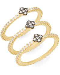 Freida Rothman 14k Yellow Gold Vermeil & Sterling Silver Stacked Clover Ring Set - Metallic