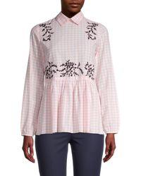 Hemant & Nandita Melantha Floral Checkered-print Blouse - Pink