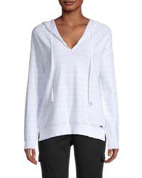 Calvin Klein Women's Striped V-neck Jumper - White Cloud - Size Xl