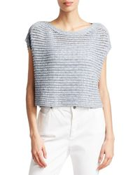 Eileen Fisher Women's Crochet Short-sleeve Sweater - Delphine - Size Xl - Blue