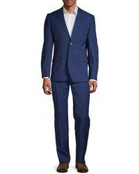 Ben Sherman Men's 2-pieceslim Fit Two-button Stretch Wool-blend Suit - Blue - Size 46 R