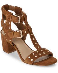 Saks Fifth Avenue Leena Block-heel Suede Sandals - Brown