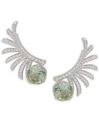 Hueb - Women's 18k White Gold, Green Amethyst & Diamond Earrings - Lyst