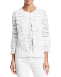 Saks Fifth Avenue Collection Crochet Cotton Knit Cardigan - White
