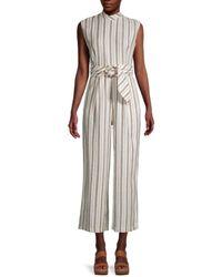 Calvin Klein Women's Striped Linen-blend Cropped Jumpsuit - White Beige Combo - Size 12 - Natural