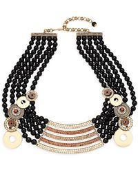 Heidi Daus - Shield Black Faux Pearl & Rhinestone Collar Necklace - Lyst