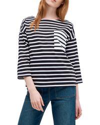 Kate Spade Striped Cotton Top - Black