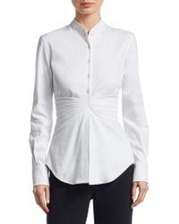 Brandon Maxwell Pleated Button-down Shirt - White