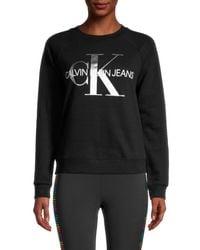 Calvin Klein Women's Metallic Logo Sweatshirt - Black - Size L