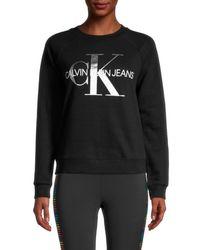 Calvin Klein Women's Metallic Logo Sweatshirt - Cali Pink - Size L - Black