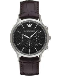Emporio Armani Renato Stainless Steel Brown Leather Strap Chronograph