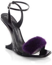 Giuseppe Zanotti - Garconne 105 Mink Fur & Patent Leather Sculpted Wedge Sandals - Lyst