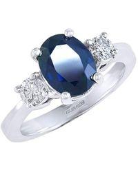 Effy Women's Gemma Sapphire, Diamond And 14k White Gold Ring/size 7 - Size 7 - Blue