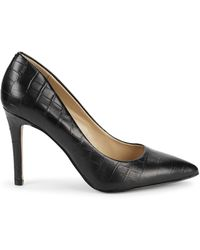 Saks Fifth Avenue Cady Croc-embossed Leather Court Shoes - Black