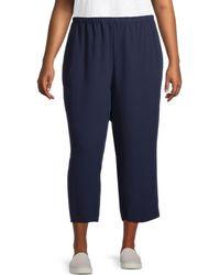 Eileen Fisher Plus Silk Straight Crop Pants - Blue