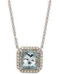Saks Fifth Avenue - 14k White Gold, Aquamarine & Diamond Pendant Necklace - Lyst