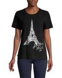 Karl Lagerfeld Eiffel Tower-print Cotton Tee - Black