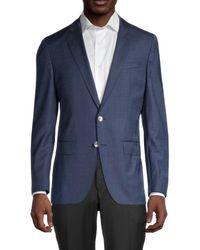 BOSS by HUGO BOSS Hartlay Regular-fit Striped Virgin Wool Jacket - Blue
