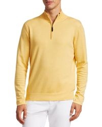 Saks Fifth Avenue Collection Silk-blend Quarter-zip Sweater - Yellow