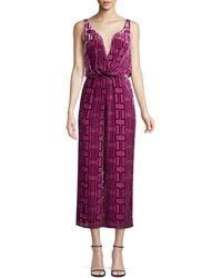 Trina Turk Wine Country Sauvignon Burnout Velvet Jumpsuit - Purple