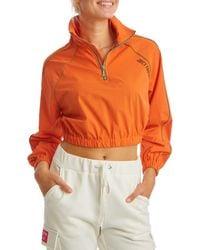 Juicy Couture Cropped Ripstop Half-zip Pullover - Orange