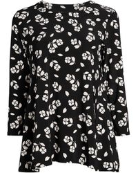 Anne Klein Floral Trapeze Top - Black