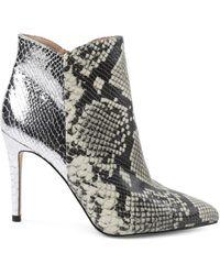 BCBGeneration Women's Haffi Snakeskin-embossed Booties - Natural Silver - Size 6 - Metallic
