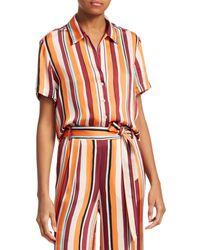 FRAME Women's Mini Striped Short-sleeve Shirt - Sunrise Multi - Size Xs - Multicolor