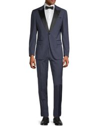 BOSS by HUGO BOSS Helward/gelvin Slim-fit Textured Virgin Wool Tuxedo Suit - Blue