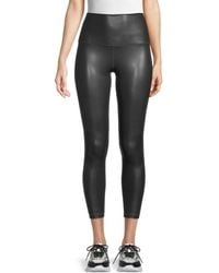 90 Degrees Faux Leather Cropped Leggings - Black