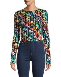 Alice + Olivia Women's Delaina Cropped T-shirt - Rainbow - Size Xs - Multicolour