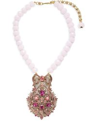Heidi Daus Filagree Fan Crystal & Glass Beaded Pendant Necklace - Multicolour