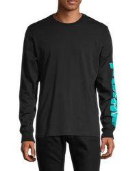 PUMA Men's Graphic Logo Long-sleeve T-shirt - Black - Size S