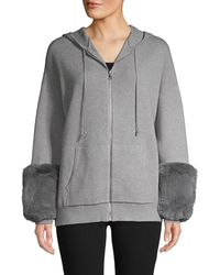 Saks Fifth Avenue Faux Fur-cuff Hoodie - Red