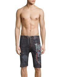Affliction - Printed Boardshorts - Lyst