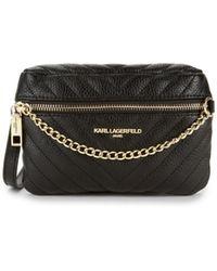 Karl Lagerfeld Charlotte Chevron Quilted Belt Bag - Natural
