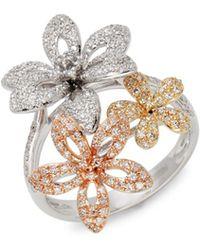 Effy - 14k Tri-tone Gold & Diamond Floral Ring - Lyst